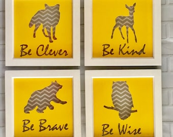 Be Clever Be Kind Be Brave Be Wise nursery decor, nursery art, nursery wall art, nursery quotes, new baby gift, woodland nursery