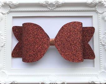 Giant large oversized glitter felt bow brown copper metallic hair clip