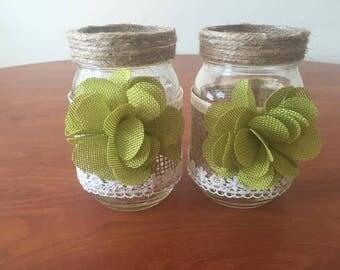 Burlap and Lace Mason Jar Vases (Pair)