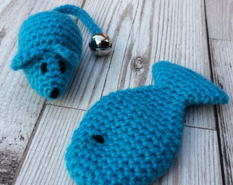 Cat toy gift set - catnip mouse - Catnip Cat Toys - catnip fish - mouse cat toy - cat present - gift for cat - blue cat toys