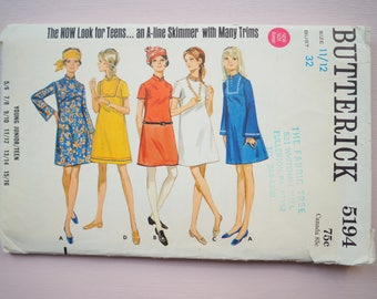 Butterick 5194 mini dress teen sewing pattern vintage retro 1960's  size 11/12  Bust 32 inches