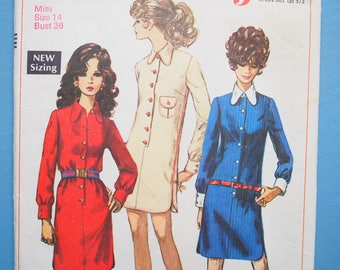 Simplicity 7797 Vintage retro 1960's shirt shift mini dress, sewing pattern Size 14 Bust 36 inches