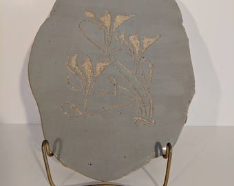 Gray and Stoneware Cyclamen Flowers Handmade Ceramic Wall Hanging Art Nouveau Abstract