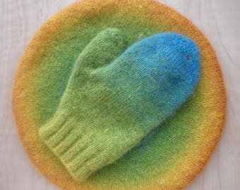 Rainbow wool knit felted mittens, ECO-friendly wool mittens, Knitted gloves, Violet blue green mittens, Striped gloves, Organic wool gloves
