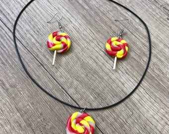 Candy fimo necklace and earrings