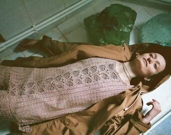 Beige lace crochet dress, boho, airy, cotton