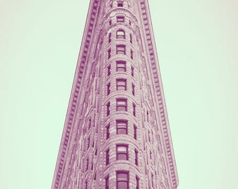 Modern New York Digital Prints, Flatiron Building Instant Download, Pink NYC Printable Photography