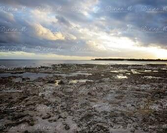 "Fine Art Photography, Beach, Sunset, Landscape, Contrast, Print ""Rocky Dusk Light"""
