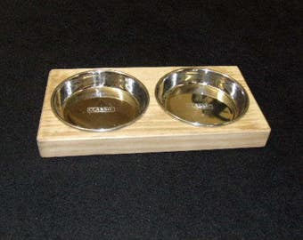 Small Hand Crafted Accoya Wood Cat or Small Dog Pet Feeder Stand with Two Stainless Steel Bowls