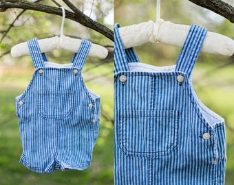George overalls | blue and white stripe overalls | baby overalls