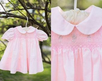Lillian dress   vintage smocked pink baby dress   peter pan collar baby dress