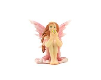"Shimmer Sitting Fairy Pink - 2.25"" x 2.25"" - Miniature Fairy Garden Dollhouse"