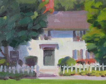 Original 6x8 Painting Front Porch New England Architecture White Picket Fence New England Neighborhood Painting Impressionist Painting Art