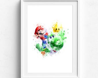 Super mario print, super mario art, super mario decor, disney watercolor, disney wall art, disney print, kids room art, kids wall decor, art