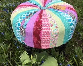 Lavender & Teal Hand sewn, Custom Tuffet Tall