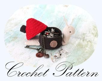 Amigurumi Snail, Snail Pattern, Crochet PATTERN, Snail Jewelry Box, Trinket Box, Crochet Snail (English Only)