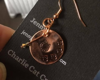 Copper horseshoe earrings