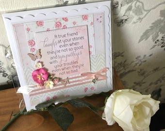 Handmade hand-stitched floral friend birthday card