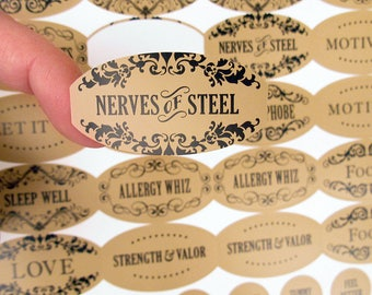 Apothecary Poly Weatherproof Labels - 120 Labels Plus 120 Cap Labels for Essential Oil Products - from Rivertree Life
