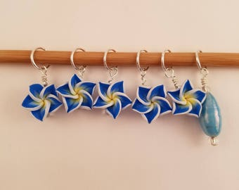 Flower Stitch Markers-Blue & Yellow 2