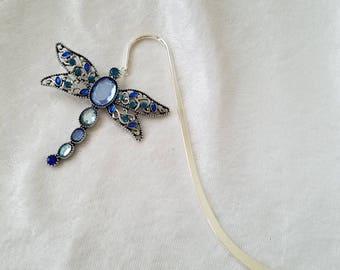 I'll Dragonfly Away, Dragonfly Bookmark, Blue Bookmark, Metal Bookmark, Insect Bookmark. Jewel Bookmark, Blue Jeweled Bookmark