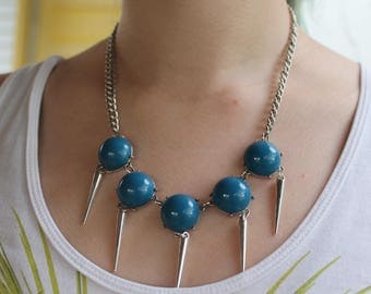 Edgy blue choker with spikes
