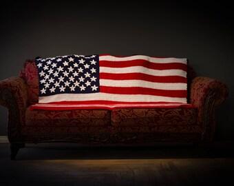 Crochet American Flag Blanket