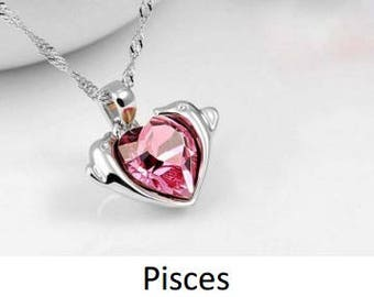 zodiac alloy crystal necklace - Pisces