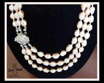 3-tier Freshwater Pearl Necklace with Platinum Plated Catch