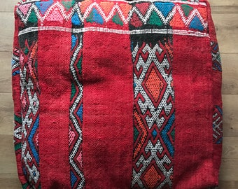 Moroccan Kilim Pouf, Floor Cushion, Vintage Pouf, Kilim, Floor Pillow