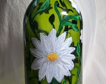 Flower painted wine bottle