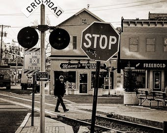 Railroad crossing Freehold NJ Black and White