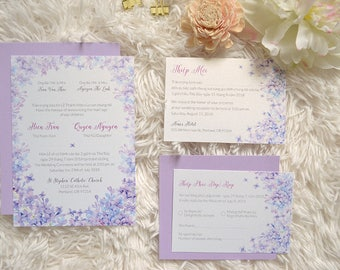 Vietnamese Wedding Invitation Purple Blue Lilac // Bilingual Invitation //  Printable // Elegant