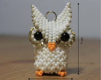 Charming little white OWL beads in 3D trailer decoration gift