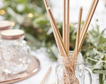 Rose Gold Straws, Rose Gold Tableware, Paper Straws, Party Straws, Wedding Straws, Hen Party Tableware, Birthday Party Straws