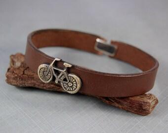Men's bracelet. Leather brass bracelet. Handmade. Unique. One-of-a-kind
