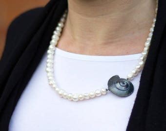 925 Silver Pearl Necklace spiral shell