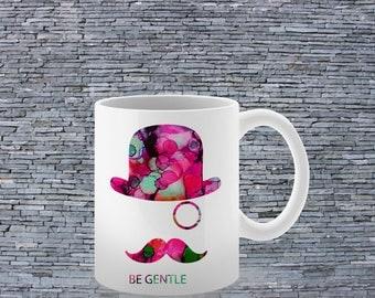 Cool Mug - Art Mug - Coffee Mug - Moustache Mug - Tea Mug