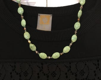 SALE Necklace with lampworked glass beads, Swarovski beads, and other elegant beads