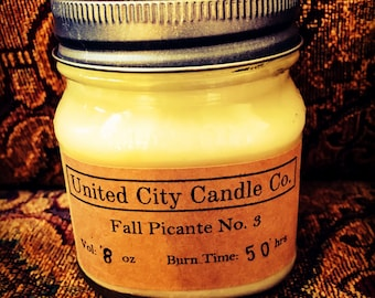 Fall Picante No. 3 -Plaid scarf and boots trekking through leaves with cup of mulled cider.100% soy candle.United City Candle Co.Made in USA
