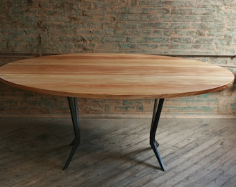 Elliptical / Round  Dining Table, modern, made from all salvaged / reclaimed wood with natural finishes
