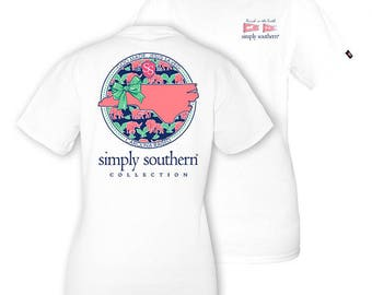 Simply Southern YOUTH Tee White NC God Made, Jesus Saved Short Sleeved T-shirt