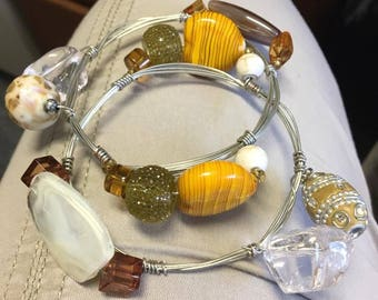 Wire Stacked Beaded Bangles