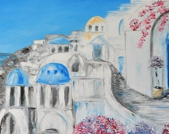 Santorini. Original oil painting on canvas, Art and collectibles, oil painting, island, impasto art on canvas by Alekseenko 40x20 inches