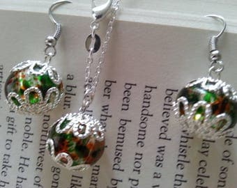 Glass ball earring and necklace set