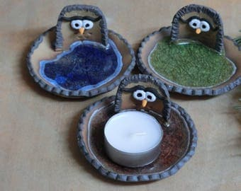 Ceramic OWL CANDLE HOLDER, Handmade, clay, pottery, glass