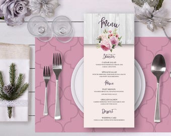 Floral Wedding Menu Blush Pink Watercolor Roses Rustic Digital Printable Wedding Boho Long Menu Card Bohemian Food Bridal Wedding - WS005