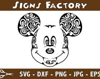 Swirly Mickey Mouse Head SVG Ears Svg