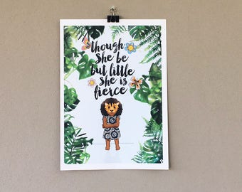 """Shakespeare """"Though she be but little she is fierce"""" quote nursery art print instant download"""
