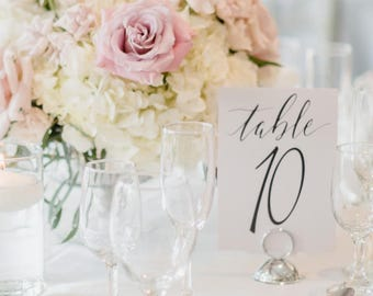 Elegant Table Numbers, Printable, Hand Written Calligraphy Table Numbers, Wedding, Stationery, numbers 1-5